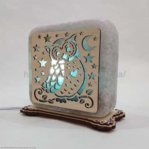 Соляной светильник квадратный Сова, соляная лампа, ночник