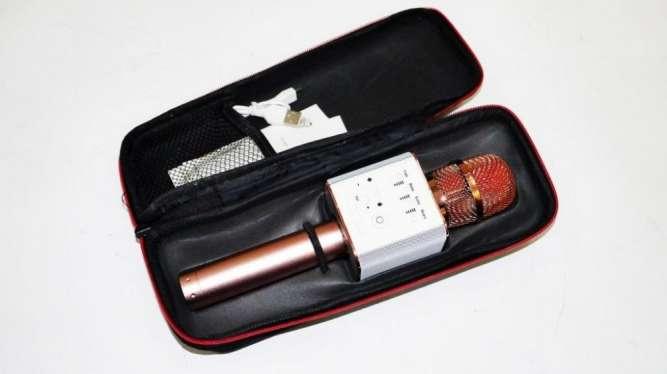 Микрофон Q9 портативный караоке с динамиком с чехлом, розовый