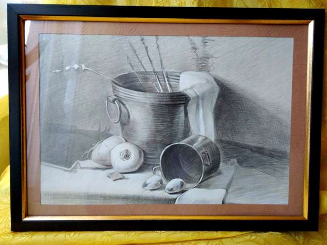 Продам натюрморт картина графит