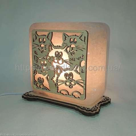 Соляной светильник квадратный Коты -2, соляная лампа, ночник