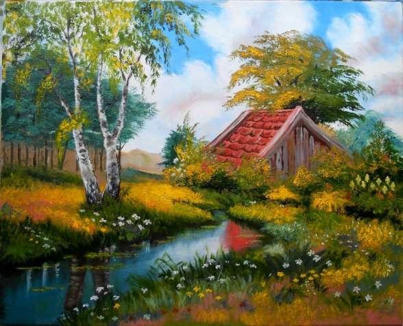 "Картина ""Лесной пейзаж"", холст, масло, 40х50 см.,"