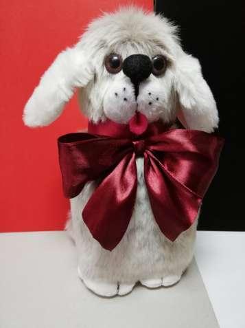 Мягкая игрушка Собачка с бантом ручная работа