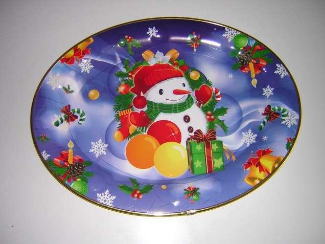 Блюдо пластиковое овальное (подарок Новогодний)