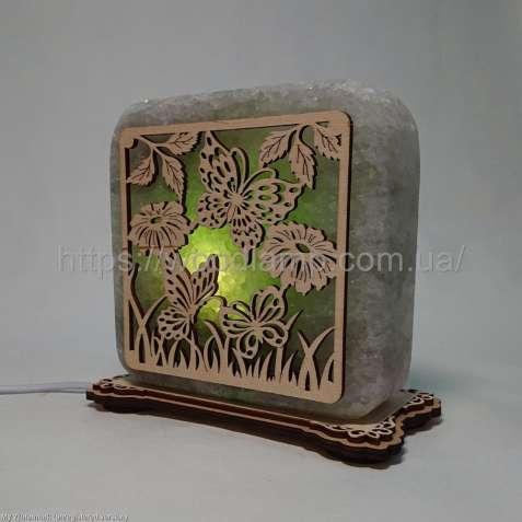 Соляной светильник квадратный Бабочки в траве, соляная лампа, ночник