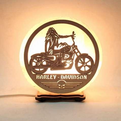 Соляной светильник круглый Harley Davidson