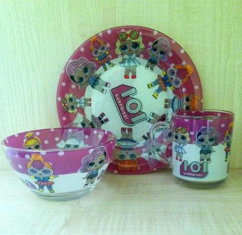 Стеклянная посуда набор 3–1 в подарочной упаковке лол