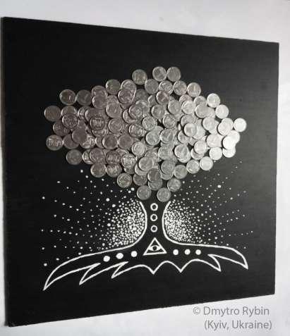Дережное дерево. Акриловая картина с монетами.