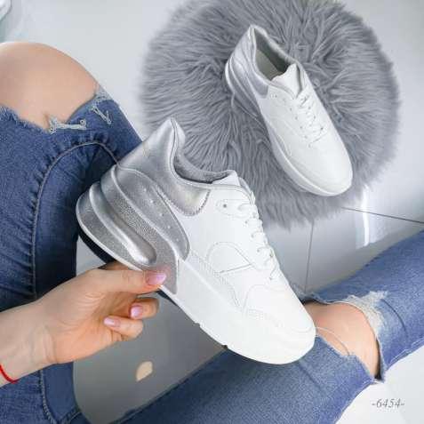 Белые кроссовки MQ с серебристой пяткой 36-41р