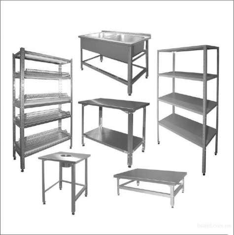 Профессиональные изделия из нержавеющей стали, столы, мойки, стеллажи.