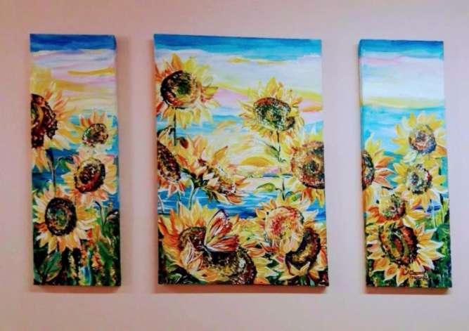 Модульная картина панорамная картина триптих на заказ, масло, акварель