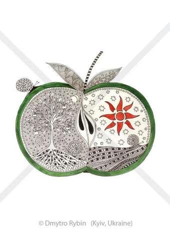 Мистическое яблоко. Картина, Символьная графика от автора.