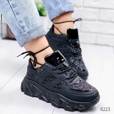 Черные женские кроссовки на толстой подошве, битое стекло 36-41р