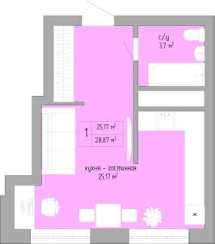 Предлагается к продаже уютная 1 комнатная квартира с хорошей планировк