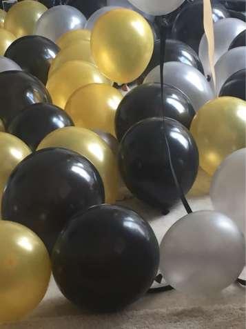 Воздушные шары черные, золотистые, серебристые, 20шт.
