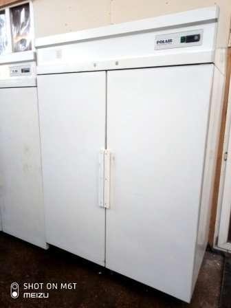 Шкаф холодильный Polair ШХ-1,4 б/у двухдверный белого цвета