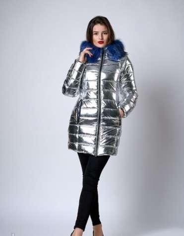 Зимняя женская молодежная куртка. код к-141-63-19. цвет серебро с сини
