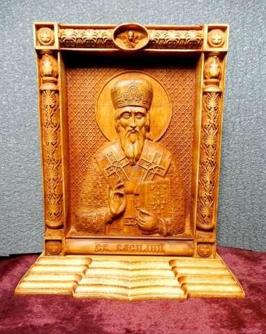 Икона резная св. Василий на постаменте (под заказ)