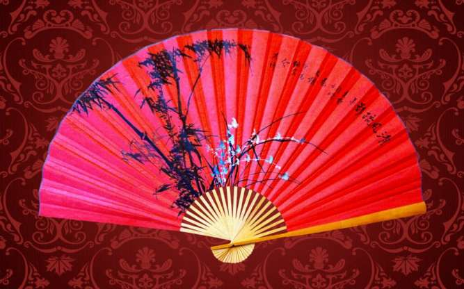 Веер настенный *бамбук и орхидея * - высота 90 см, ширина 1,5 м