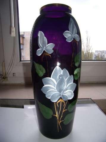 Винтажная ваза, СССР, цветное стекло, кобальт, позолота, цвет марсала - зображення 3