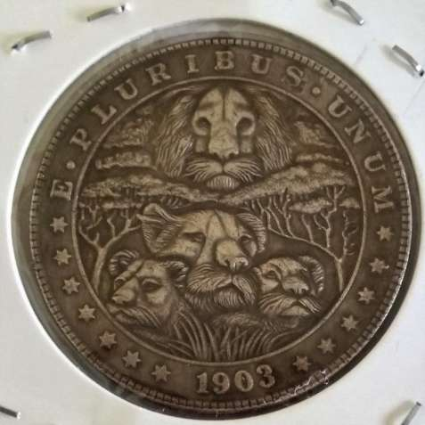 Львы, Хобо Никель (Hobo Nickel) 1 доллар, 1903, США