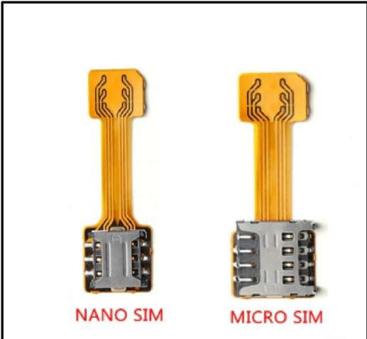 Адаптер для 2-х двух сим sim карт nano и micro переходник шлейф
