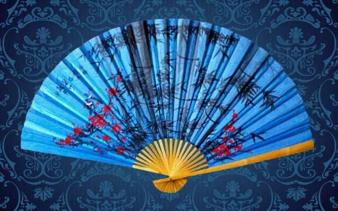 Веер настенный *бамбук и сакура * - высота 90 см, ширина 1,5 м.