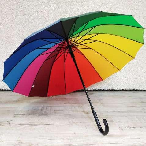 Зонт трость радужный зонтик 16 спиц большой радужный