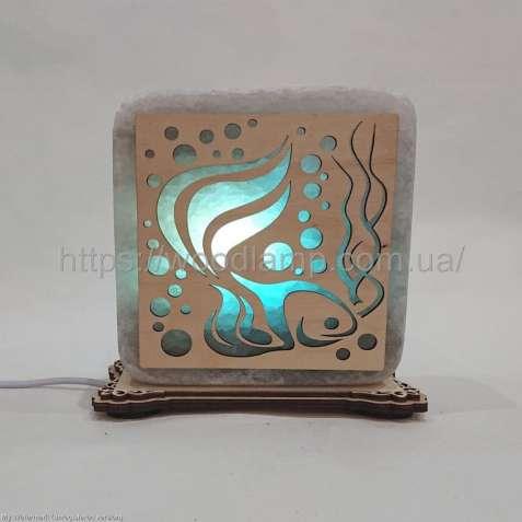 Соляной светильник квадратный Рыба, соляная лампа, ночник