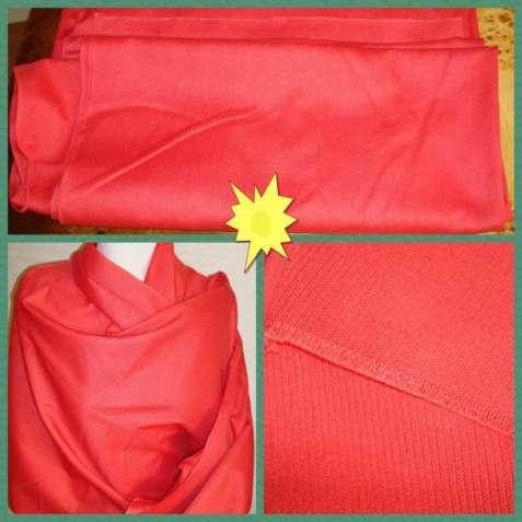 Отрез ткани красного цвета под тик Ссср 14