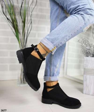 Черные женские туфли широкая резинка и ремешок 36-41р код 3677