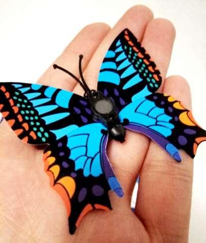 Бабочки 3D наклейки на магните, комплект