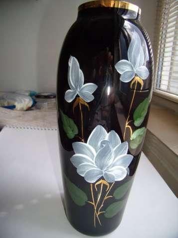 Винтажная ваза, СССР, цветное стекло, кобальт, позолота, цвет марсала - зображення 2