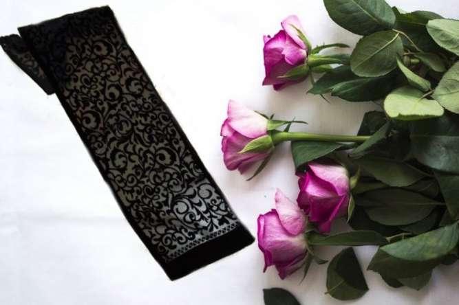 Красивый женский шарф пан бархат черный