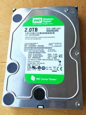 "Жесткий диск 3,5"" для ПК Western Digital 2TB WD20EARX SATAIII, 5400rpm"