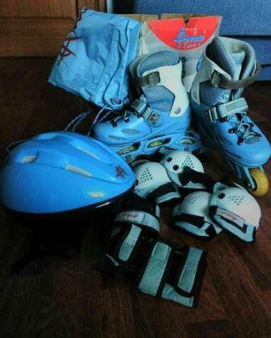 Раздвижные ролики 31-36, набор с защитой, шлемом и сумкой