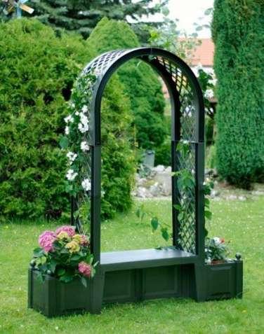 Садовая арка Брюсель с Лавкой зеленая №4706
