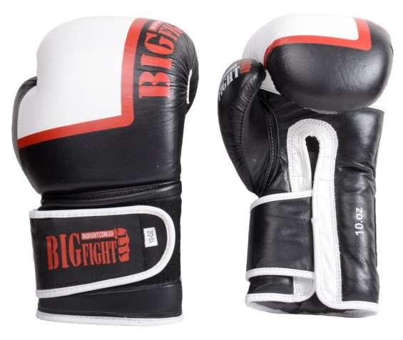 Перчатки черно-белые BigFight кожа