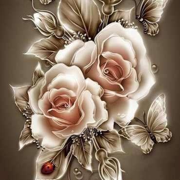 Алмазная вышивка/мозаика 30х30 натюр Жемчужные розы, полное заполнение