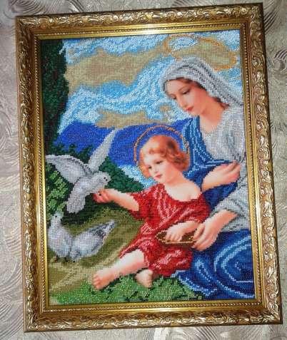 """Картина вышита  бисером """"Богородица и голуби"""" 31 х 39 см"""