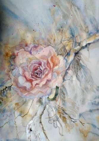 """Картина акварелью """" осенняя роза"""""""