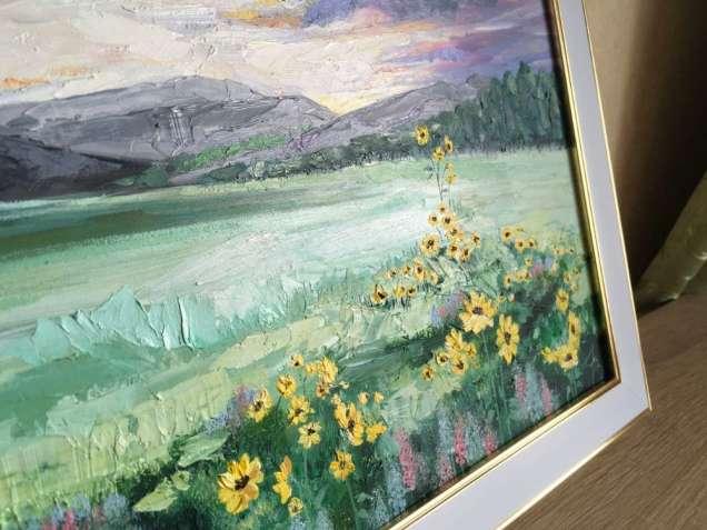 """Картина маслом """"Цветочное поле"""""""