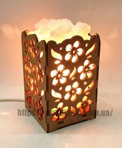 Соляной светильник Камин с кристаллами соли Цветы