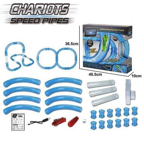 Трубопроводный автотрек Tube Race - Chariots Speed Pipes 37 деталей