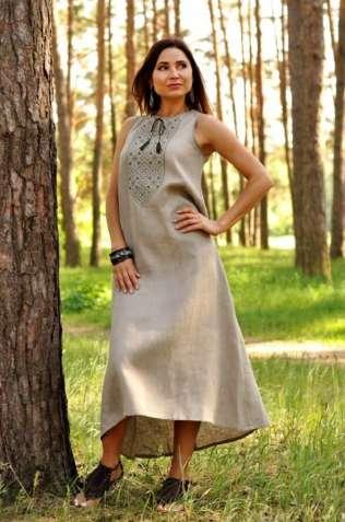 Жіноче плаття-оберіг з натурального льону