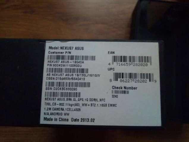 Продам Планшет модель: NEXUS7 ASUS - 1804DA Customer P\ N  на деталі