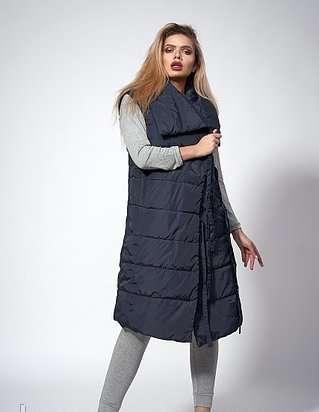 Женский молодежный утепленный жилет. код модели жл-08-37-18. цвет темн