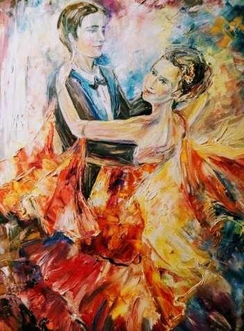 """Картина """"Вальс""""масло холст танец влюбленных декор для гостиной подарок"""