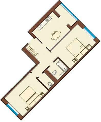 Большая и светлая 2-комнатная квартира 67м2 в центре города