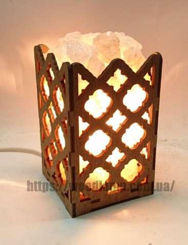 Соляной светильник Камин с кристаллами соли Ромбы