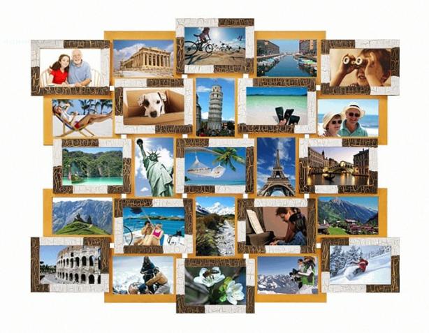 Деревянная мультирамка фоторамка рамка 25 фотографий размера 10х15 см